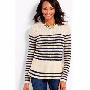 Talbots STRIPED CABLE PEPLUM SWEATER Size SP